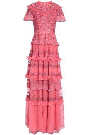 NEEDLE & THREAD Ruffled tiered embroidered tulle gown