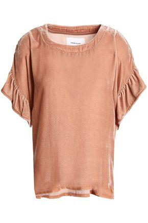 CURRENT/ELLIOTT The Janie ruffle-trimmed velvet blouse