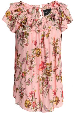 NEEDLE & THREAD Ruffle-trimmed printed crepe top