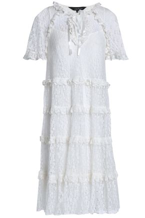 NEEDLE & THREAD Ruffle-trimmed lace dress