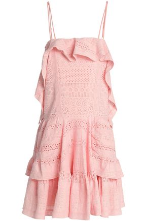 NEEDLE & THREAD Ruffled broderie anglaise cotton mini dress
