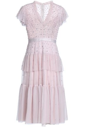 NEEDLE & THREAD Ruffled tiered embellished tulle dress