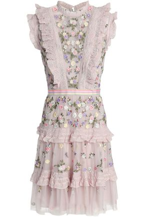 NEEDLE & THREAD | Needle & Thread Ruffled Tiered Embroidered Tulle Mini Dress | Goxip
