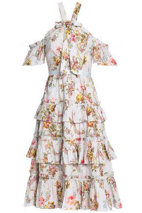 NEEDLE & THREAD Cold-shoulder bow-embellished floral-print cotton midi dress