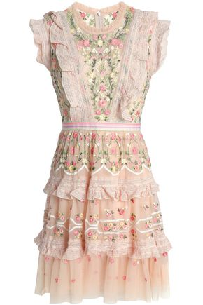 NEEDLE & THREAD Ruffled tiered embroidered tulle mini dress