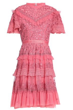 NEEDLE & THREAD Tiered ruffle-trimmed embroidered tulle dress