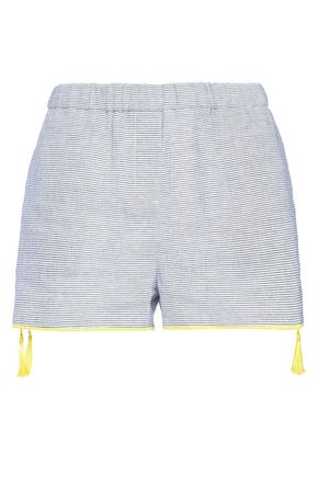 CHARLI Niko striped linen and cotton-blend shorts