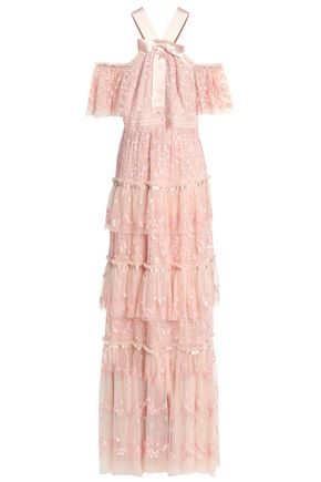 NEEDLE & THREAD Cold-shoulder bow-embellished embroidered tulle gown