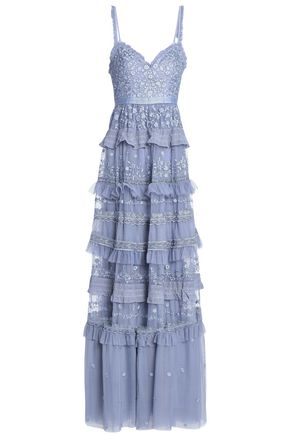 NEEDLE & THREAD Tiered ruffle-trimmed embroidered tulle gown