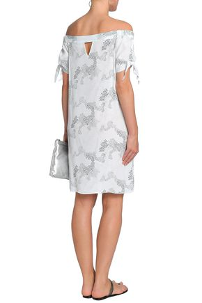 CHARLI Off-the-shoulder cutout printed crepe de chine dress