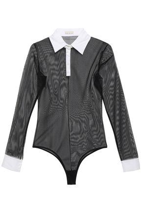 FLEUR DU MAL Poplin-trimmed stretch-mesh bodysuit