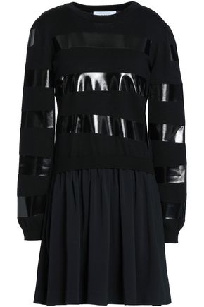 MOSCHINO Paneled coated wool and satin-crepe mini dress