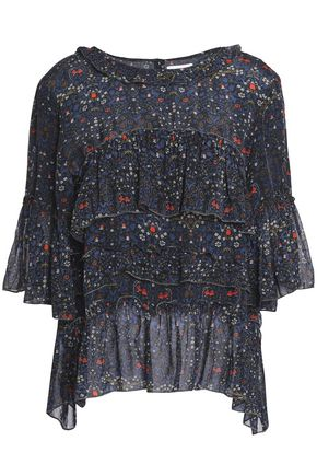 VELVET by GRAHAM & SPENCER Tiered crepe de chine and chiffon blouse