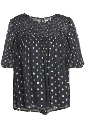 VELVET by GRAHAM & SPENCER Metallic fil coupé georgette blouse