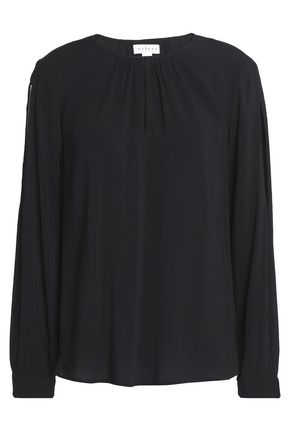 VELVET by GRAHAM & SPENCER Cutout gathered mousseline blouse