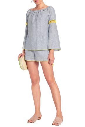 CHARLI Rosalie crochet-trimmed striped linen and cotton-blend blouse