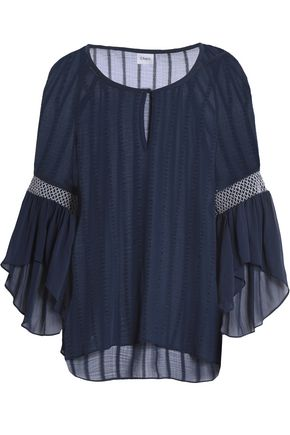 CHARLI Everley smocked burnout georgette blouse