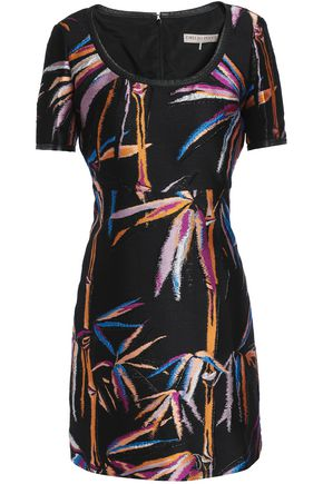EMILIO PUCCI Leather-trimmed jacquard-twill mini dress