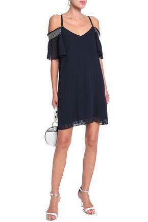 CHARLI Eloise cold-shoulder striped jacquard dress