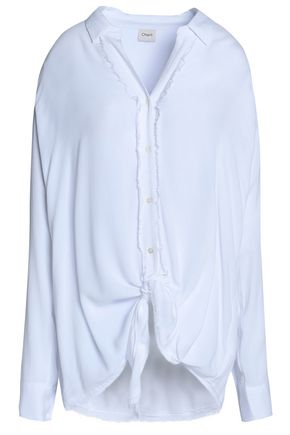 CHARLI Veronica tie-front frayed crepe shirt