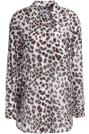 EQUIPMENT Leopard-print cotton and silk-blend shirt