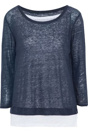 MAJESTIC FILATURES Layered slub linen-jersey top