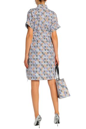 EMILIO PUCCI Gathered printed cotton-blend dress