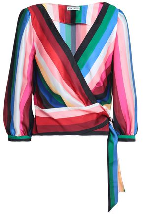 ALICE + OLIVIA Striped satin wrap top
