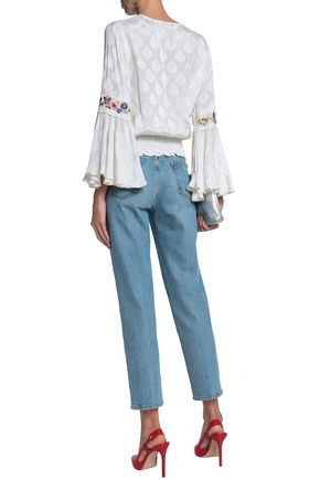 ALICE + OLIVIA Shirred embroidered jacquard blouse