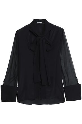 ALICE + OLIVIA JEANS Pussy-bow silk-voile blouse