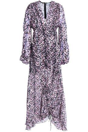 PREEN by THORNTON BREGAZZI Ruched devoré-chiffon midi dress