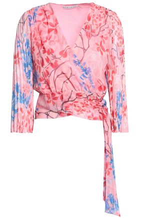 ALICE + OLIVIA Pleated printed silk-voile wrap top