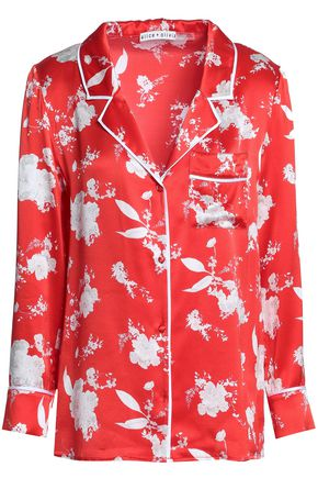 ALICE + OLIVIA Printed silk-satin shirt