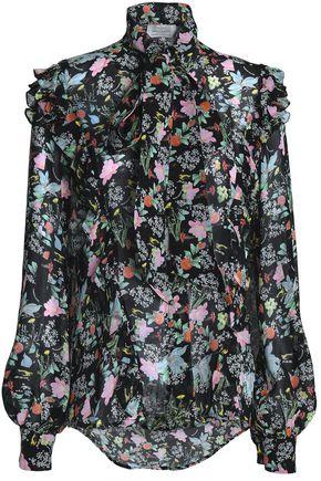 PREEN by THORNTON BREGAZZI Pussy-bow silk-georgette blouse