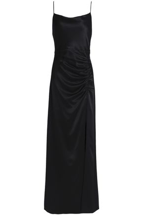 ALICE + OLIVIA Ruched satin-crepe maxi gown