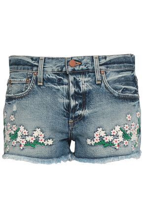 ALICE + OLIVIA JEANS Best Intentions embroidered denim shorts