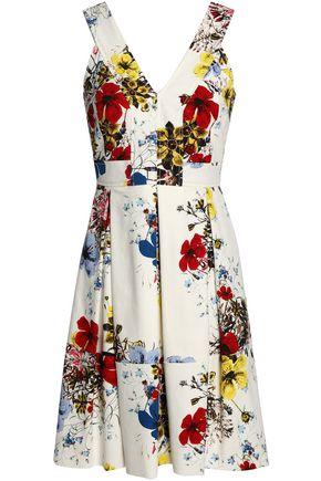 ERDEM Pleated floral-print cotton-blend mini dress