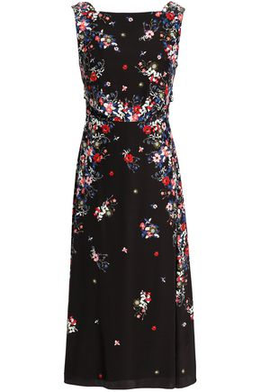 ERDEM Juno tie-back floral-print silk crepe de chine midi dress