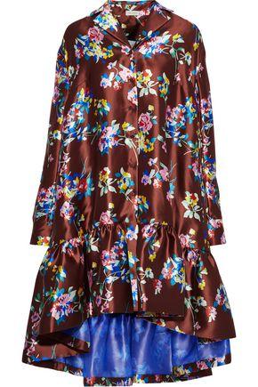 DELPOZO Fluted floral-print silk-satin twill mini dress