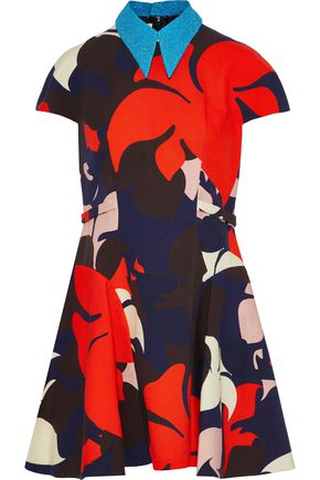 DELPOZO Glitter-trimmed floral-print ccrepe mini dress