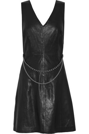 MUUBAA Handley chain-embellished leather mini dress