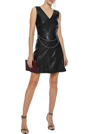 MUUBAA Handley chain-embellished leather mini dress