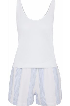 MONROW Striped gauze and cotton-blend jersey playsuit
