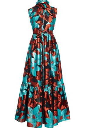 DELPOZO Pussy-bow metallic fil coupé organza maxi dress