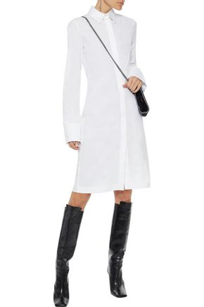 Cotton Blend Poplin Shirt Dress by Helmut Lang