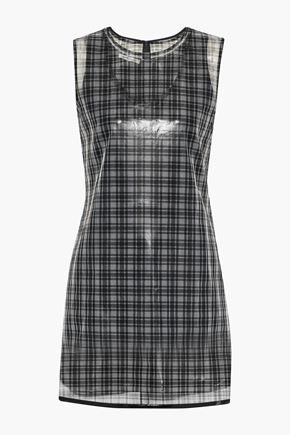 HELMUT LANG Layered checked gazar mini dress