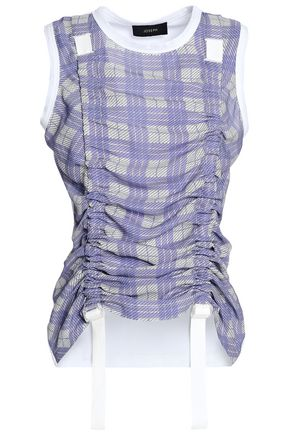 JOSEPH Ruched checked mesh and jersey top