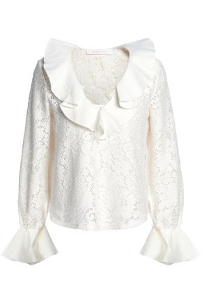 SEE BY CHLOÉ Ruffled paneled twill and pointelle-knit cotton-blend top