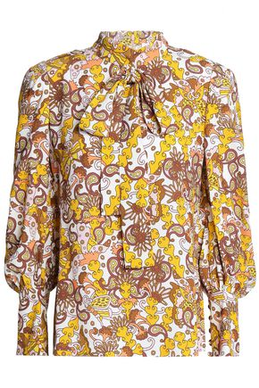 CHLOÉ Pussy-bow printed crepe blouse