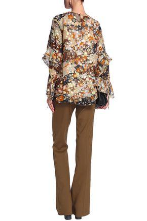 CHLOÉ Metallic fil coupé printed silk blouse
